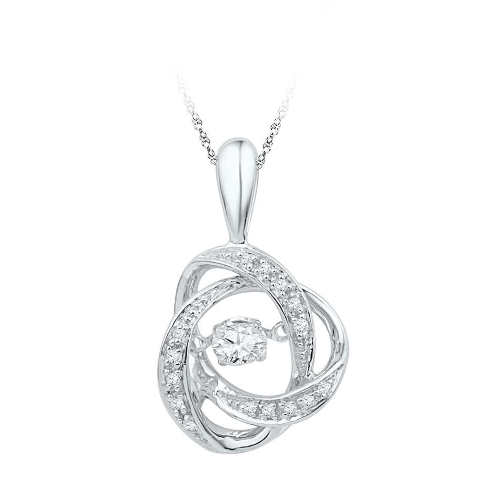 10kt White Gold Womens Round Diamond Moving Twinkle Solitaire Pendant 1/6 Cttw