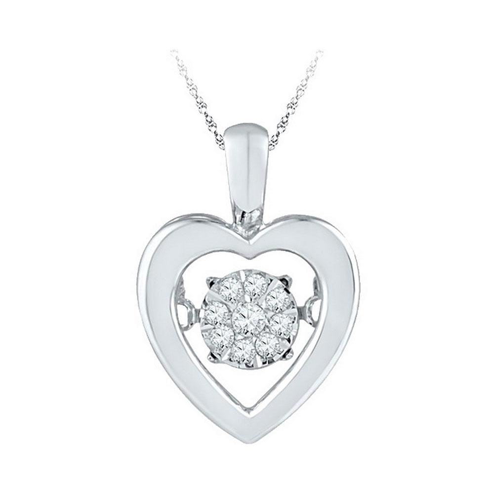 Sterling Silver Womens Round Diamond Moving Twinkle Cluster Heart Love Pendant 1/12 Cttw