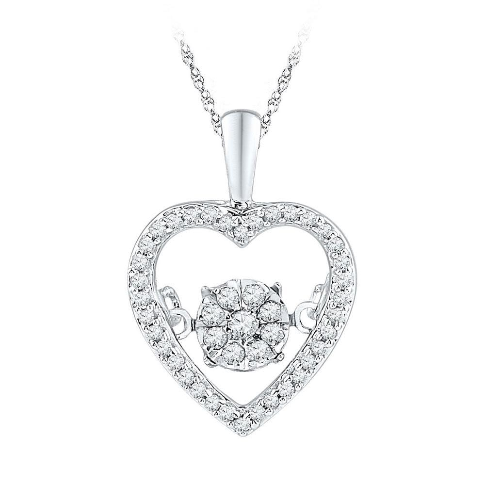 10kt White Gold Womens Round Diamond Cluster Moving Twinkle Heart Pendant 1/5 Cttw