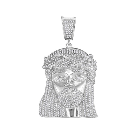 10kt White Gold Mens Round Diamond Jesus Christ Head Messiah Charm Pendant 1-7/8 Cttw