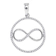 Sterling Silver Womens Round Diamond Infinity Circle Pendant 1/3 Cttw