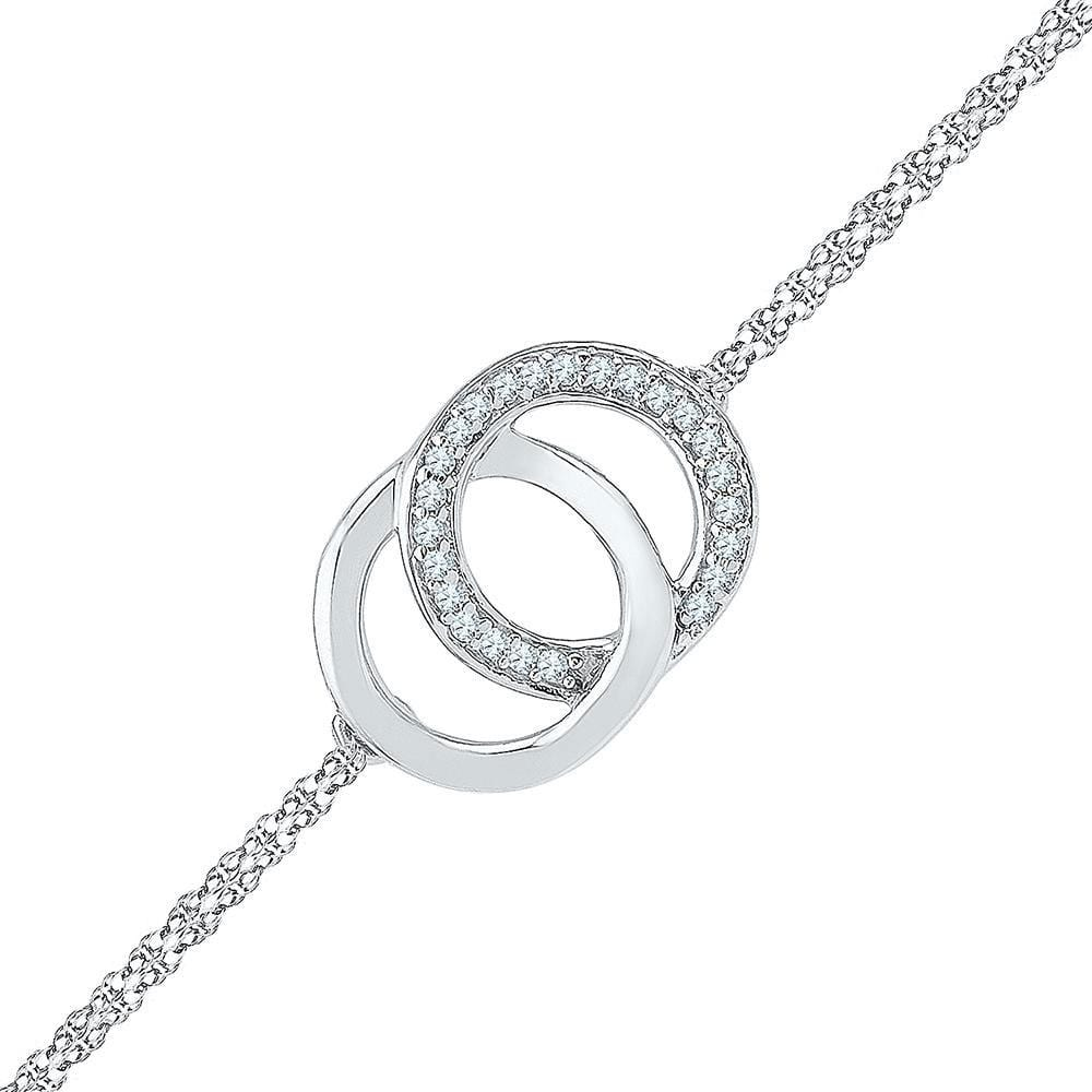 Sterling Silver Womens Round Diamond Linked Double Circle Fashion Bracelet 1/12 Cttw