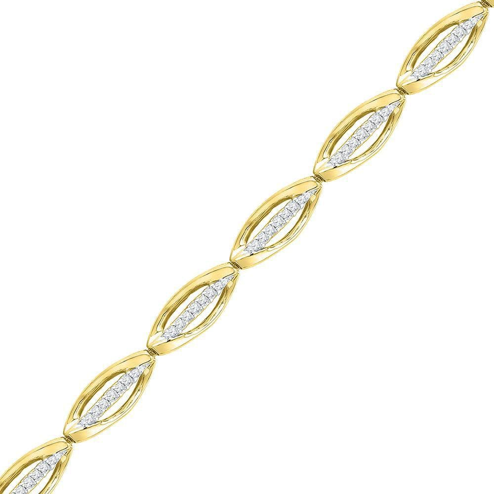 10kt Yellow Gold Womens Round Diamond Fashion Bracelet 1/2 Cttw