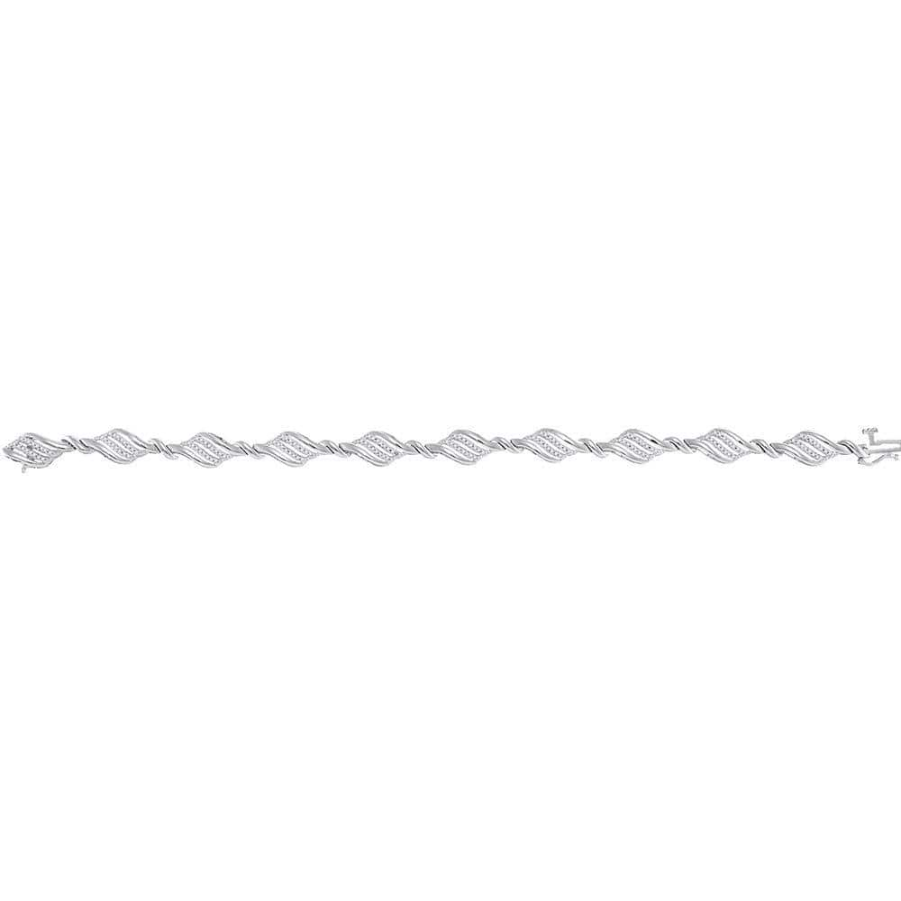 10kt White Gold Womens Round Diamond Fashion Bracelet 1/2 Cttw