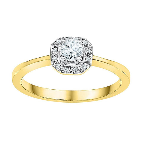 10kt Yellow Gold Womens Round Diamond Solitaire Halo Bridal Wedding Engagement Ring 1/4 Cttw
