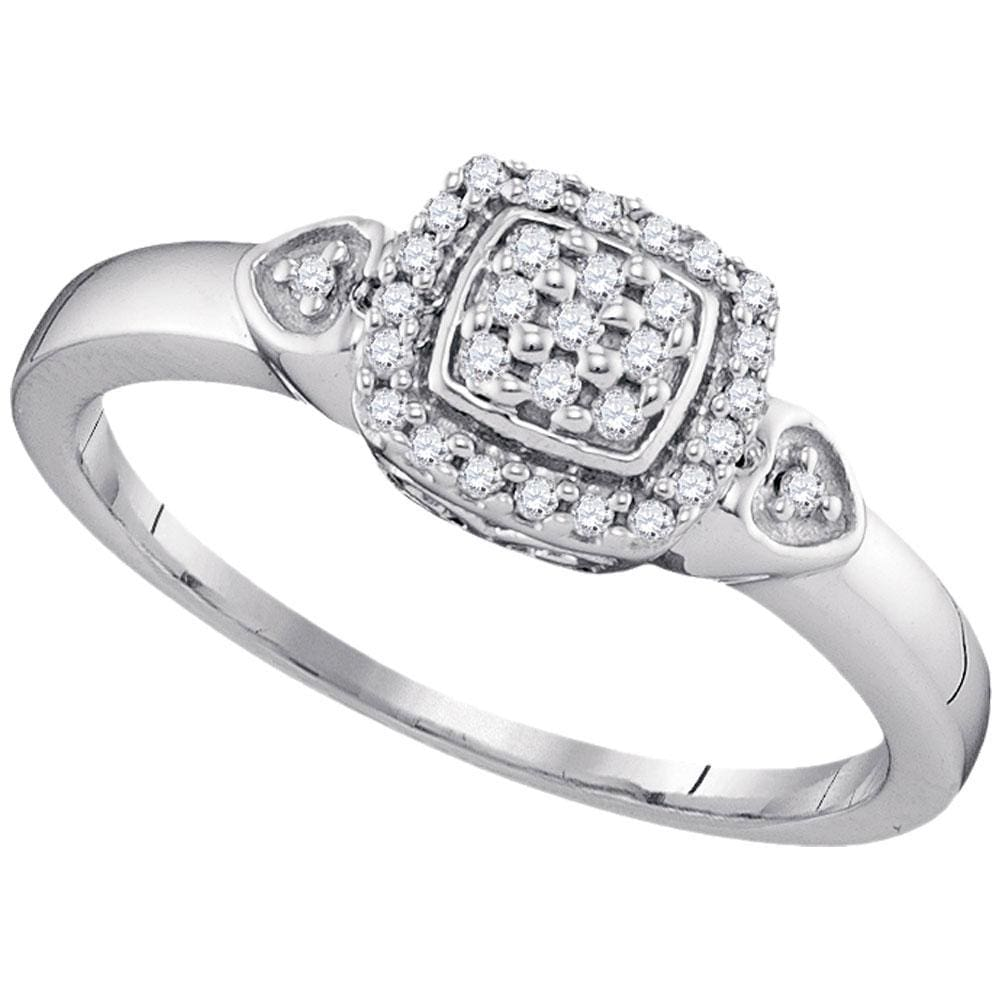 10kt White Gold Womens Round Diamond Square Cluster Ring 1/8 Cttw