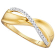 10kt Yellow Gold Womens Round Diamond Single Row Crossover Band Ring 1/20 Cttw