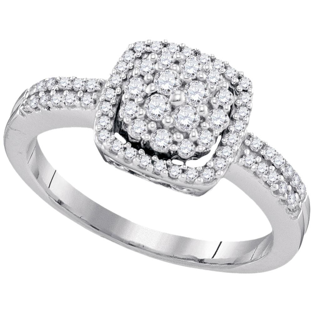 10kt White Gold Womens Round Diamond Square Frame Cluster Ring 1/2 Cttw