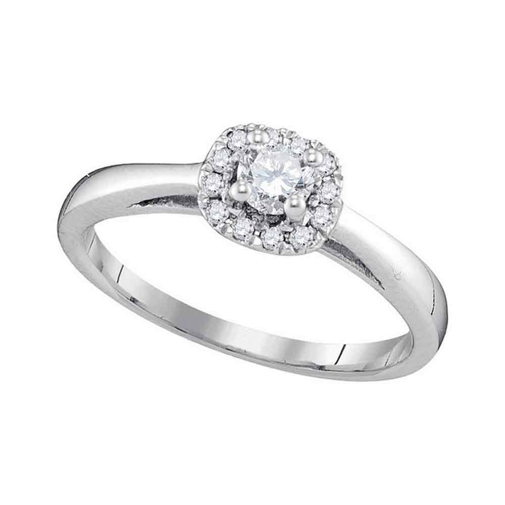10kt White Gold Womens Round Diamond Solitaire Bridal Wedding Engagement Ring 1/3 Cttw