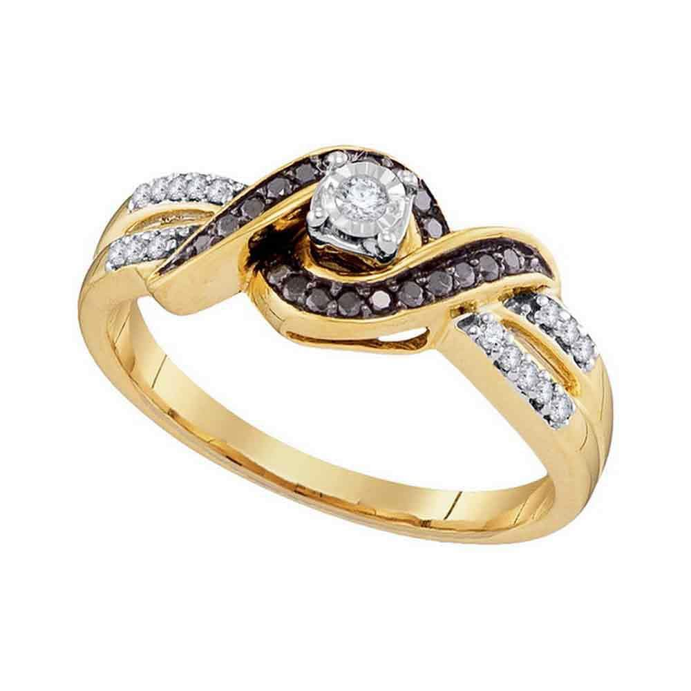 10kt Yellow Gold Womens Round Black Color Enhanced Diamond Solitaire Ring 1/5 Cttw