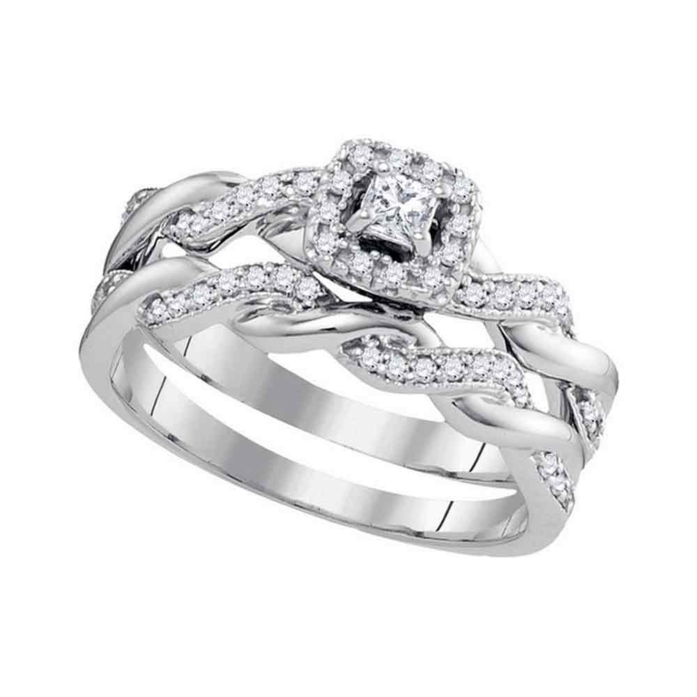 10k White Gold Princess Diamond Womens Halo Bridal Wedding Engagement Ring Band Set 1/3 Cttw