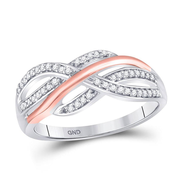 10kt Two-tone White Rose Gold Womens Round Diamond Crossover Strand Band Ring 1/5 Cttw