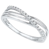 10kt White Gold Womens Round Diamond Crossover Strand Band Ring 1/12 Cttw