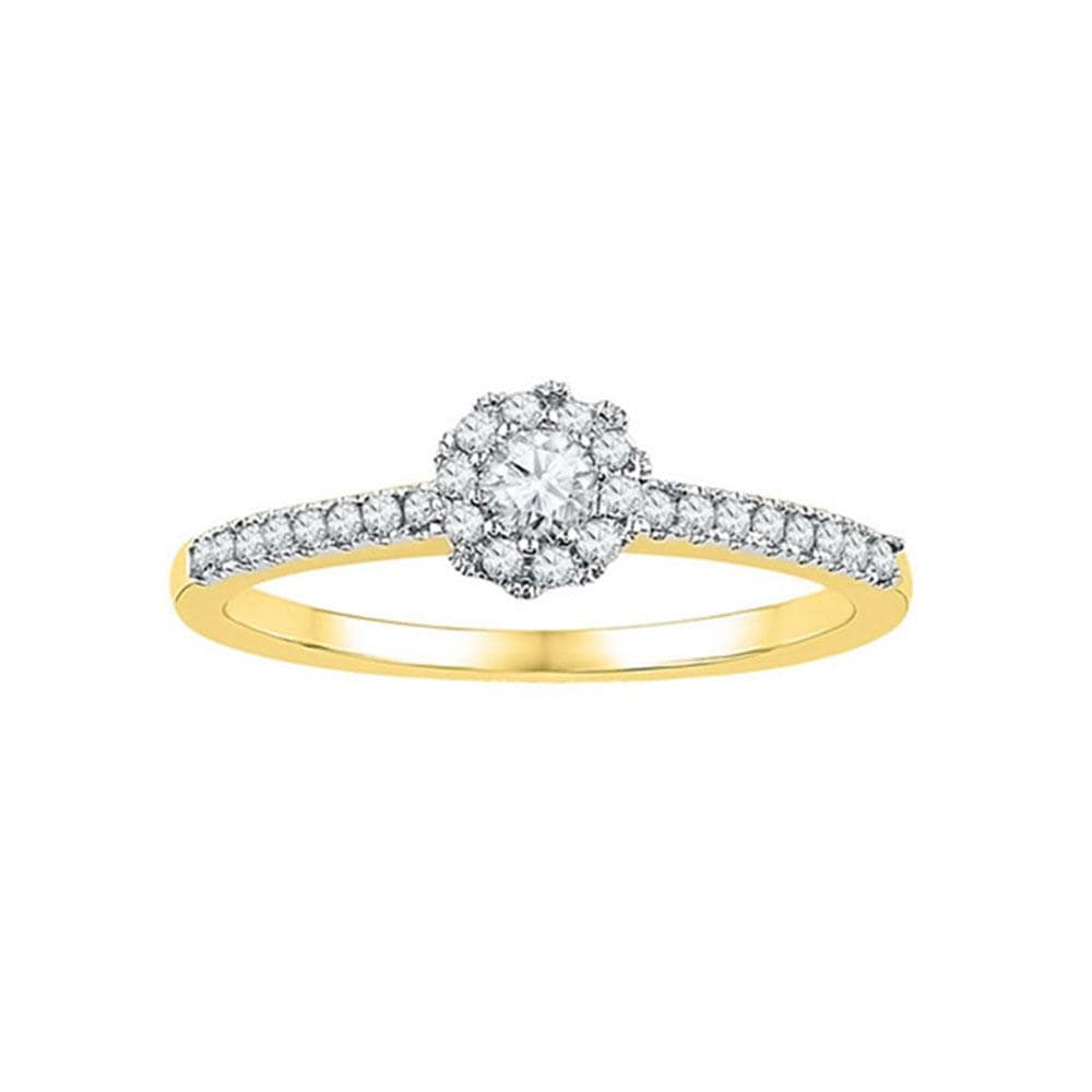 10kt Yellow Gold Womens Round Diamond Solitaire Slender Halo Bridal Wedding Engagement Ring 1/3 Cttw