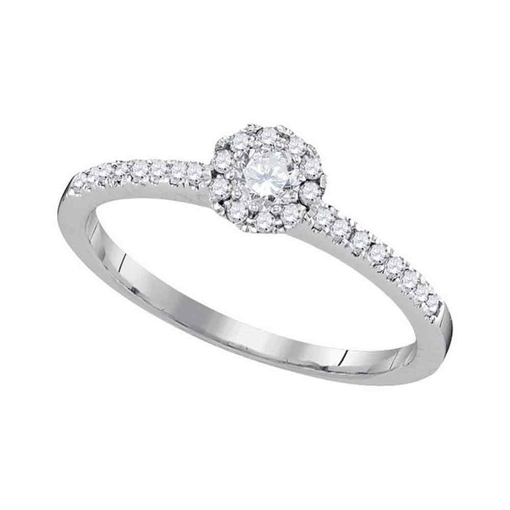 10kt White Gold Womens Round Diamond Solitaire Slender Halo Bridal Wedding Engagement Ring 1/3 Cttw