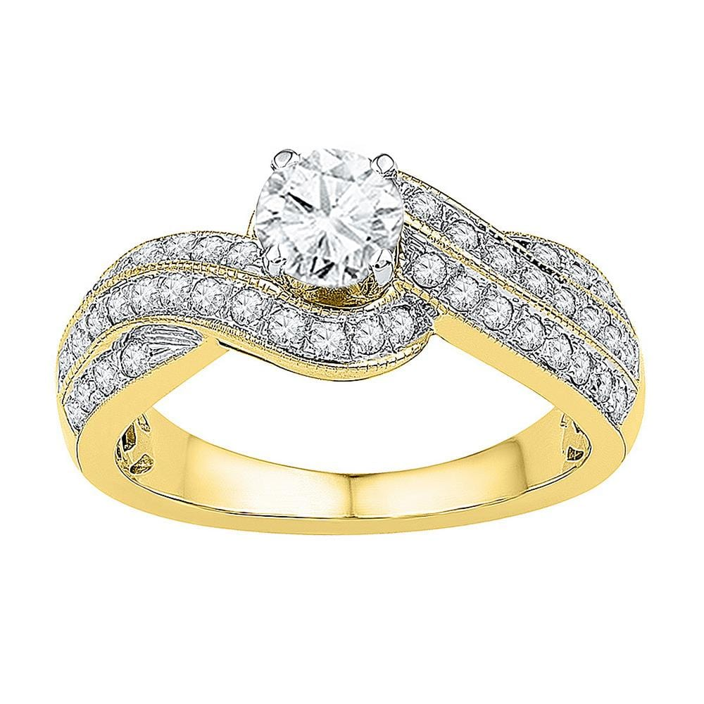 10kt Yellow Gold Womens Round Diamond Solitaire Bridal Wedding Engagement Ring 1/2 Cttw