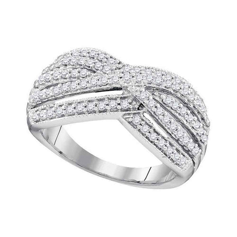 10kt White Gold Womens Round Diamond Band Crossover Ring 5/8 Cttw