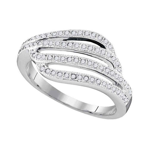 10kt White Gold Womens Round Diamond Four Row Strand Band Ring 1/3 Cttw