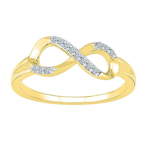 10kt Yellow Gold Womens Round Diamond Infinity Fashion Ring 1/12 Cttw