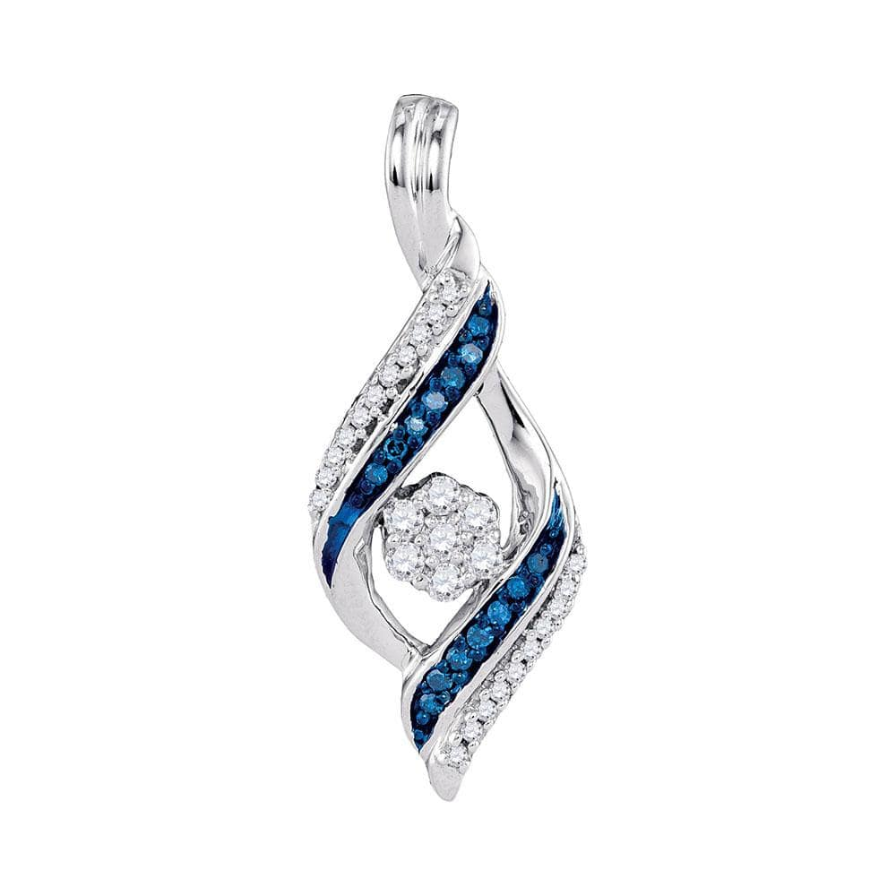 10kt White Gold Womens Round Blue Color Enhanced Diamond Cluster Pendant 1/4 Cttw