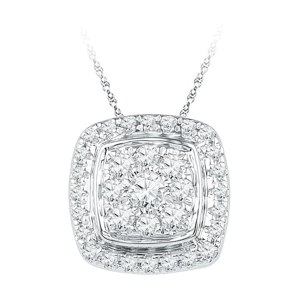 10kt White Gold Womens Round Diamond Square Cluster Fashion Pendant 1/2 Cttw