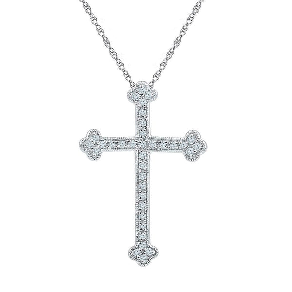 10kt White Gold Womens Round Diamond Gothic Cross Religious Pendant 1/5 Cttw