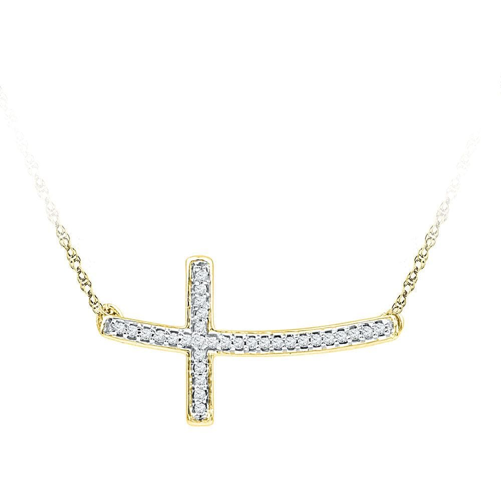 10kt Yellow Gold Womens Round Diamond Horizontal Cross Faith Necklace 1/10 Cttw