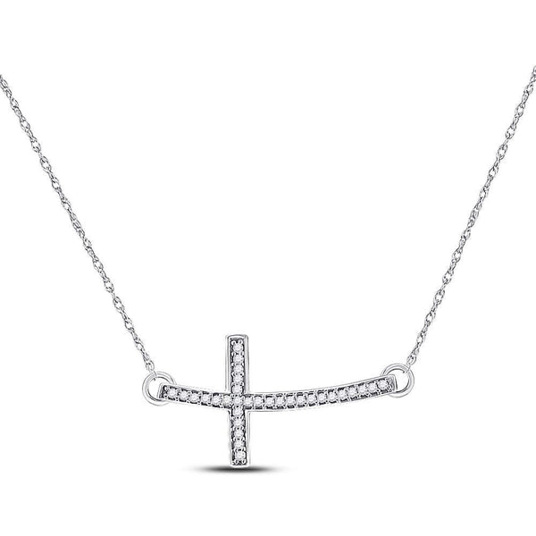 10kt White Gold Womens Round Diamond Horizontal Cross Pendant Necklace 1/10 Cttw