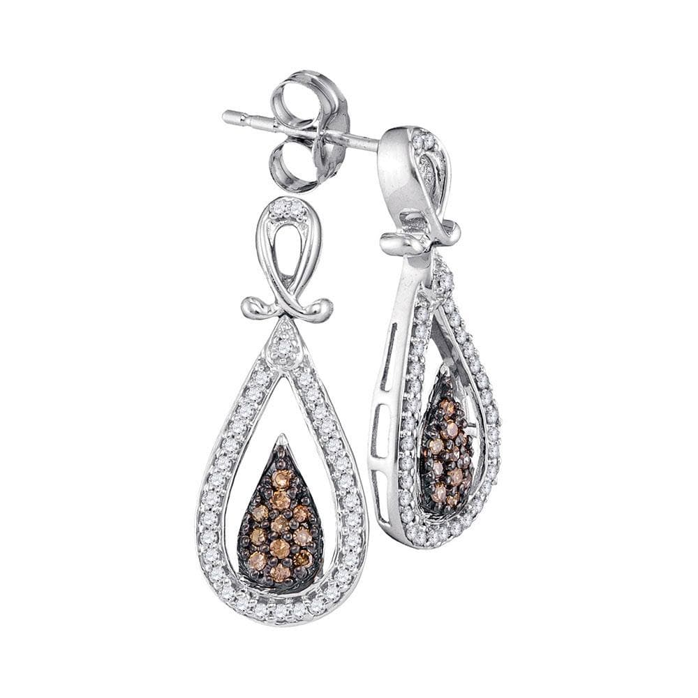 10kt White Gold Womens Round Brown Color Enhanced Diamond Teardrop Dangle Earrings 1/3 Cttw