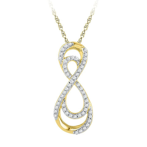 10kt Yellow Gold Womens Round Diamond Vertical Double Infinity Pendant 1/5 Cttw