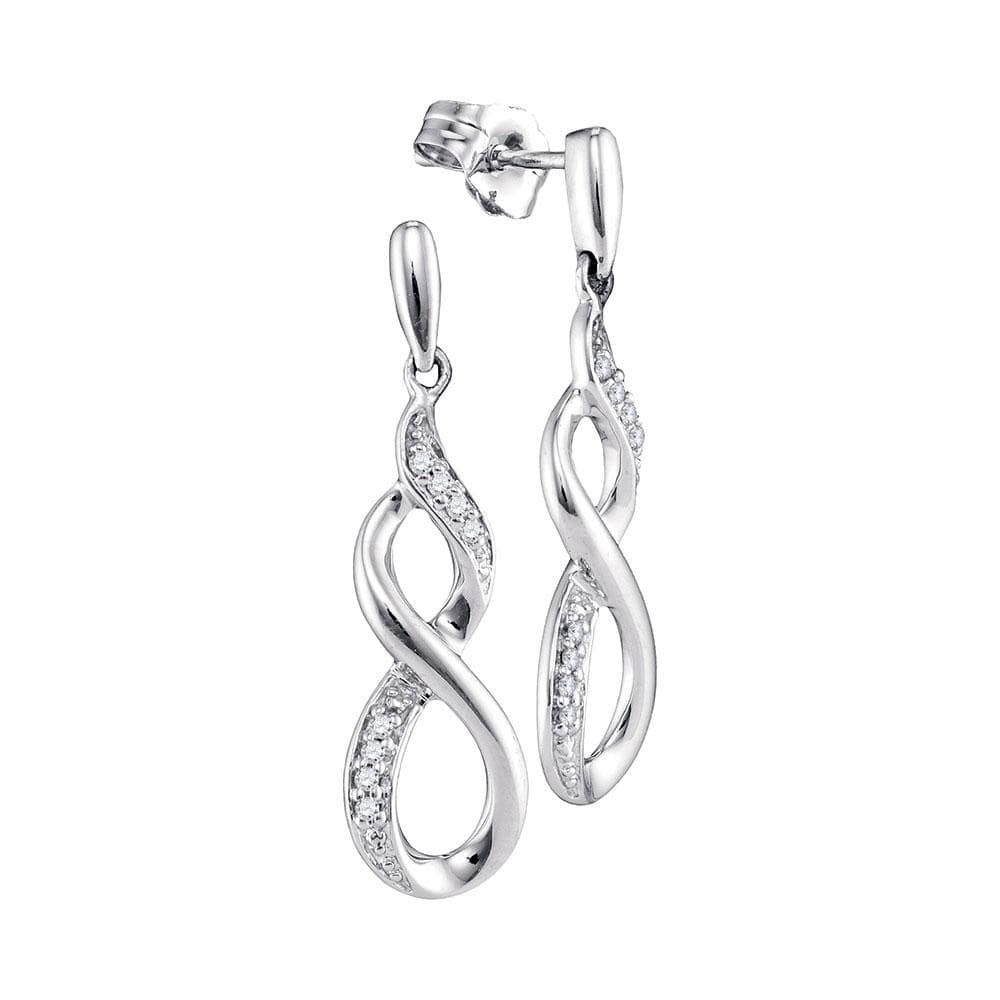 10kt White Gold Womens Round Diamond Infinity Dangle Earrings 1/20 Cttw