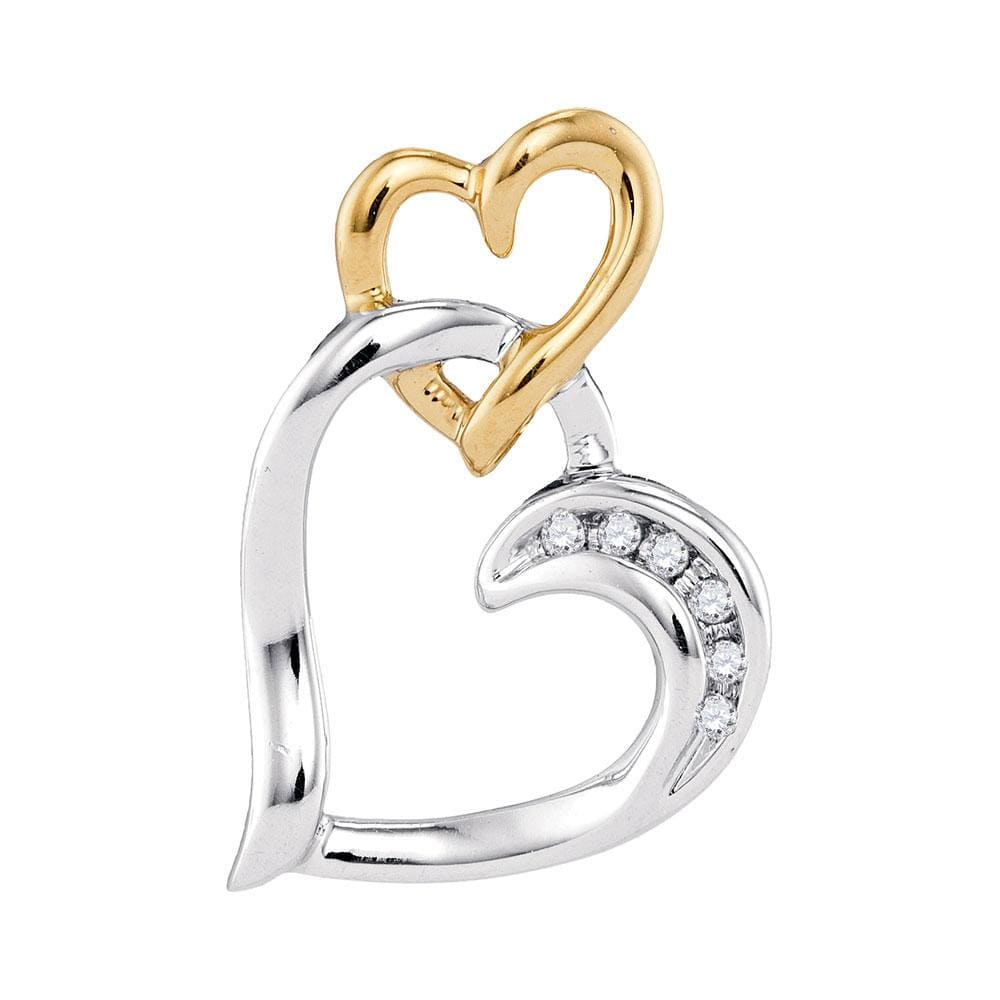 10kt Two-tone White Yellow Gold Womens Round Diamond Heart Pendant .03 Cttw