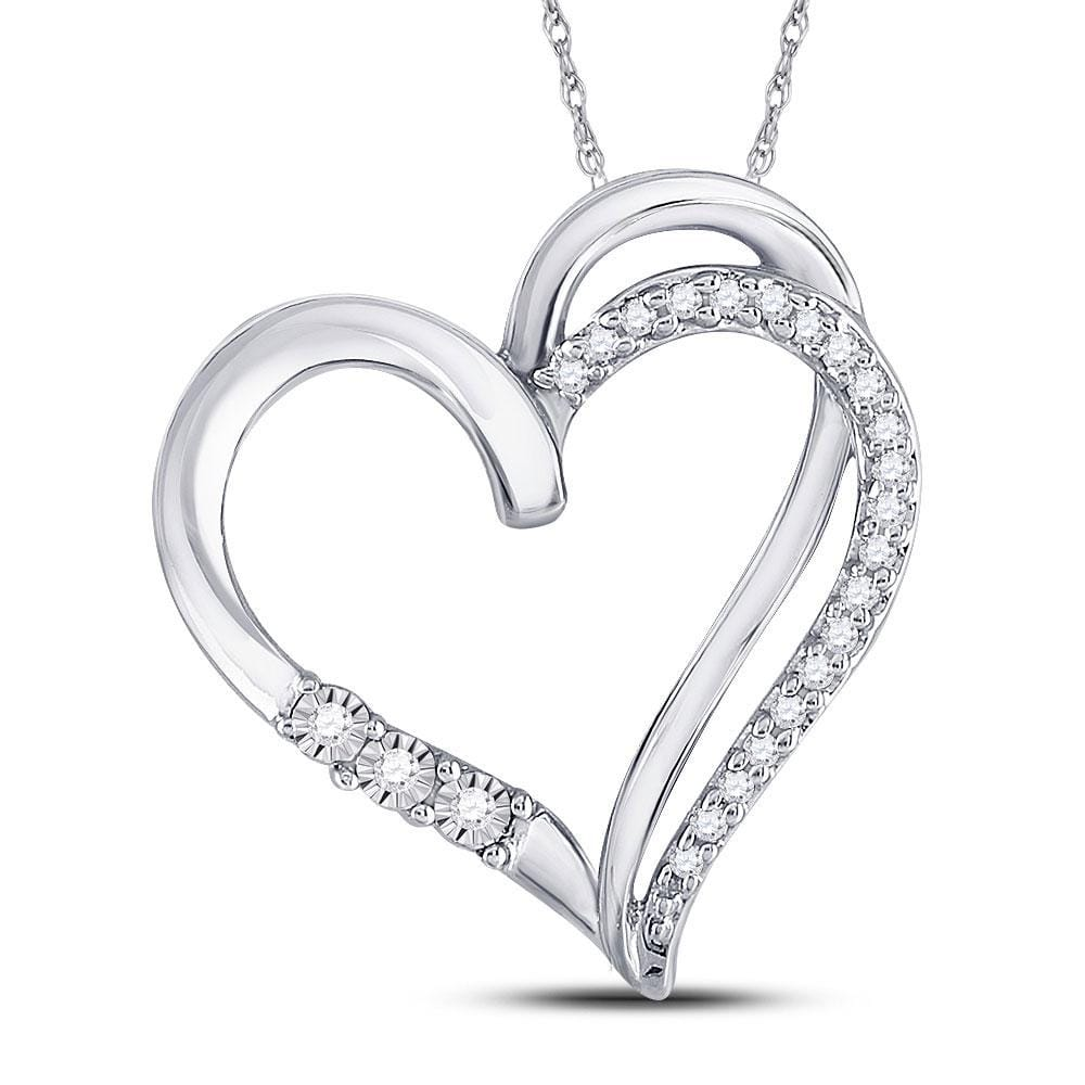 10kt White Gold Womens Round Diamond Open-center Heart Pendant 1/10 Cttw