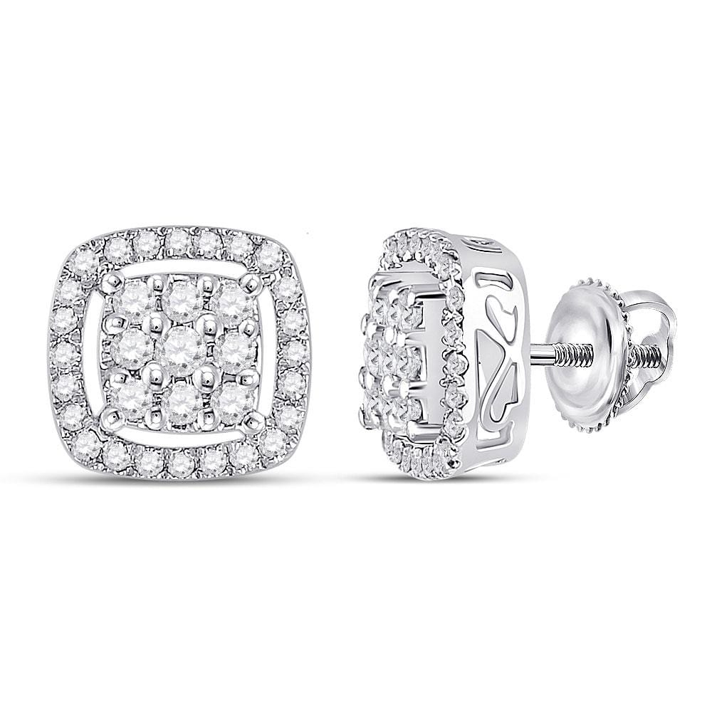 10kt White Gold Womens Round Diamond Square Frame Cluster Earrings 1/2 Cttw