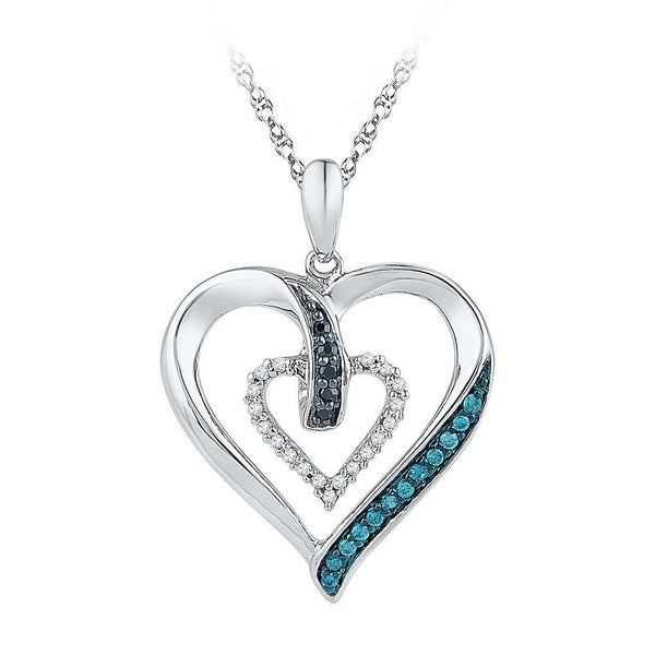 10kt White Gold Womens Round Black Blue Color Enhanced Diamond Heart Pendant 1/6 Cttw