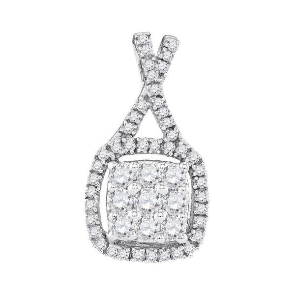 10kt White Gold Womens Round Diamond Framed Square Cluster Pendant 1/2 Cttw