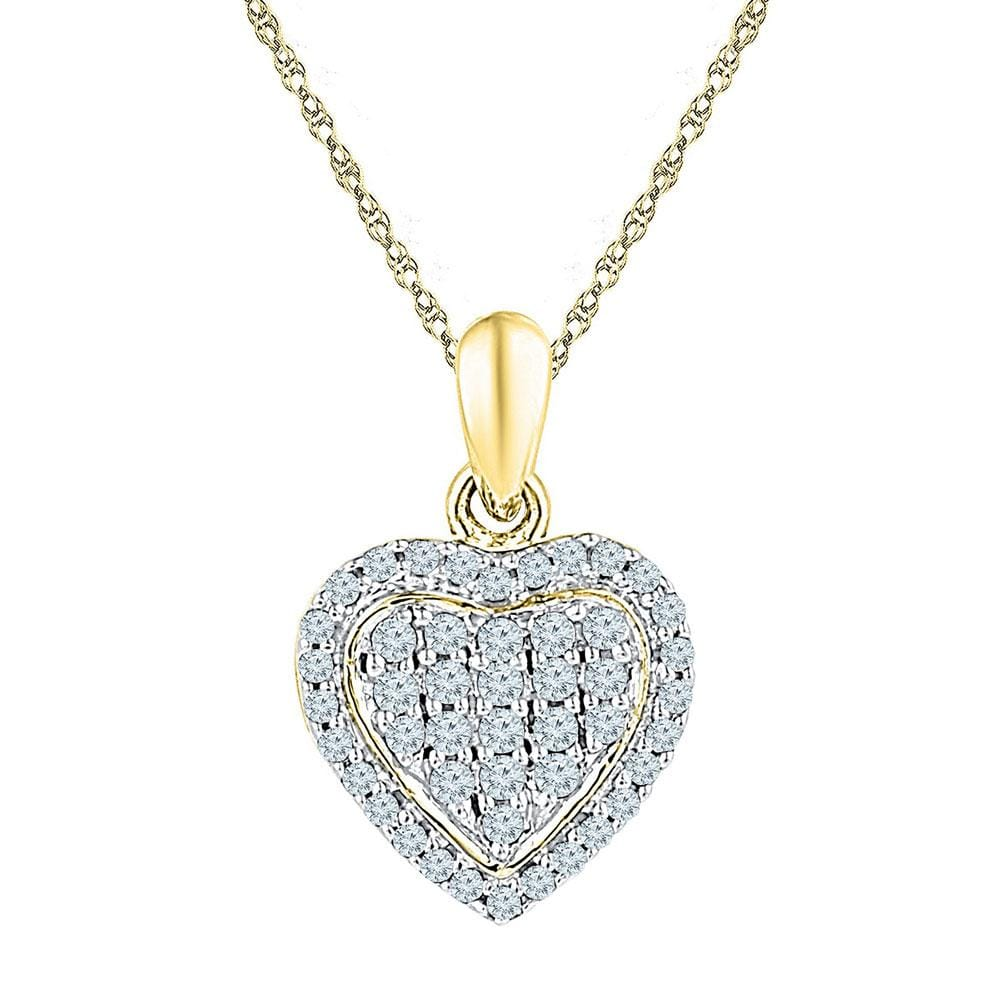 10kt Yellow Gold Womens Round Diamond Heart Cluster Pendant 1/4 Cttw