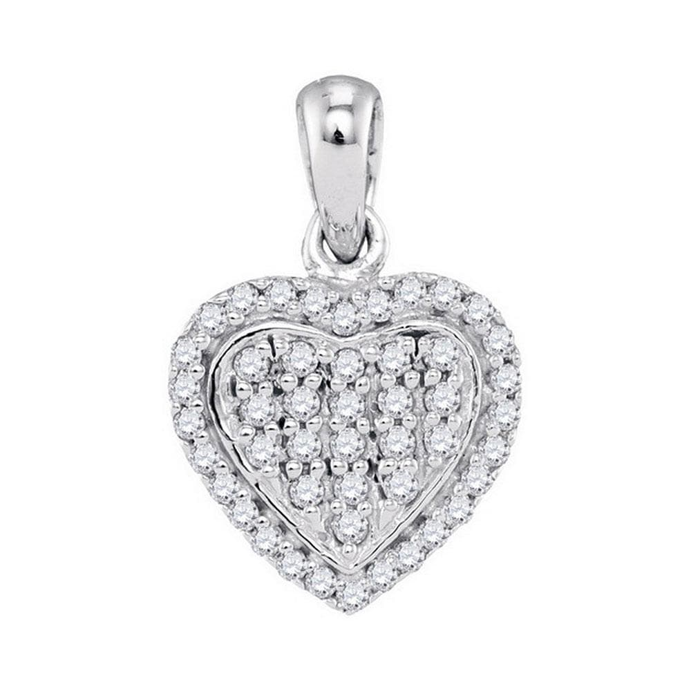 10kt White Gold Womens Round Diamond Heart Cluster Pendant 1/4 Cttw