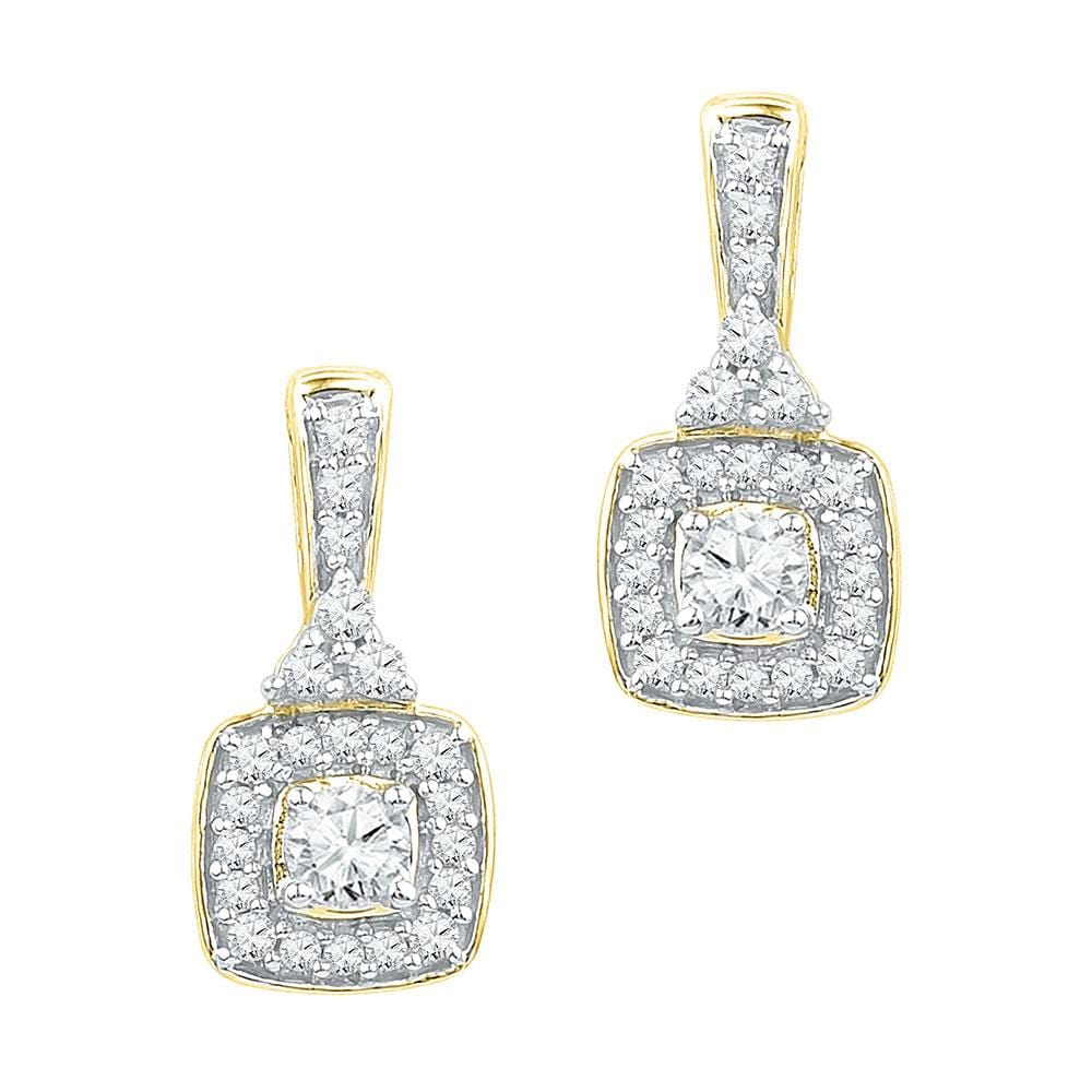 10kt Yellow Gold Womens Round Diamond Dangle Earrings 3/8 Cttw