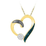 10kt Yellow Gold Womens Round Diamond Cluster Heart Pendant 1/20 Cttw