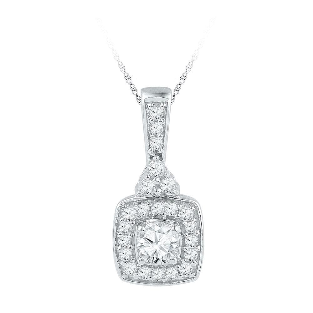 10kt White Gold Womens Round Diamond Solitaire Square Framed Pendant 1/2 Cttw