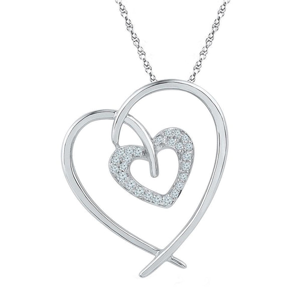 10kt White Gold Womens Round Diamond Double Heart Pendant 1/8 Cttw