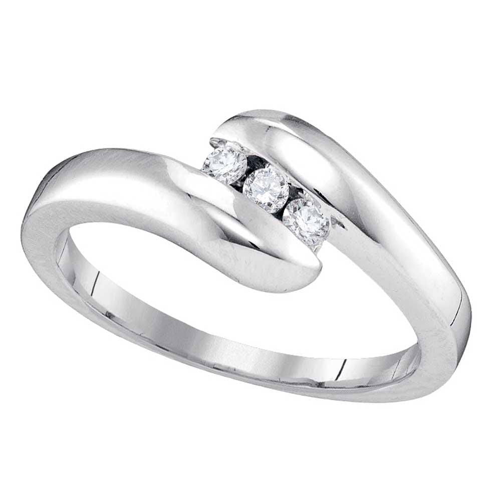 10kt White Gold Womens Round Diamond 3-stone Promise Bridal Ring 1/8 Cttw
