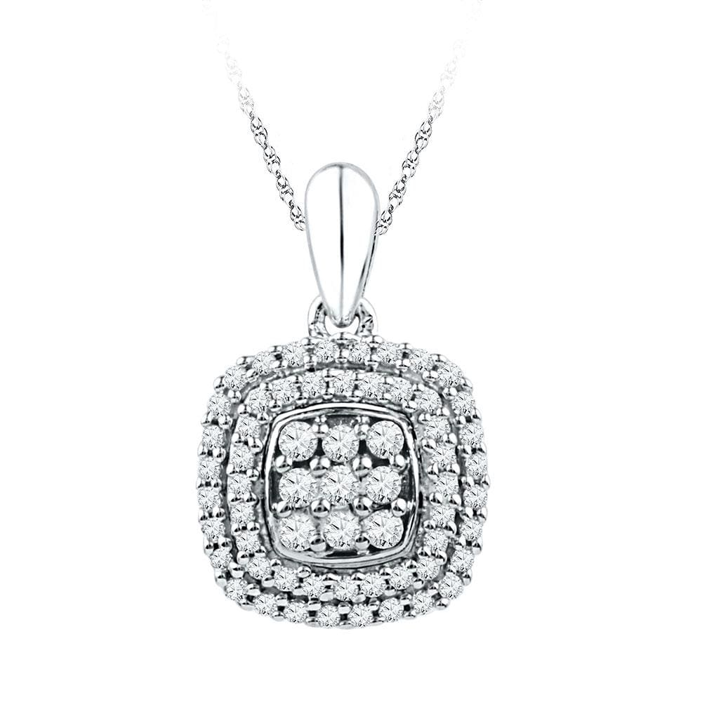 10kt White Gold Womens Round Diamond Cluster Double Frame Square Pendant 1/3 Cttw