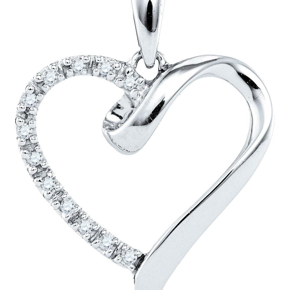 Sterling Silver Womens Round Diamond Simple Heart Outline Pendant 1/20 Cttw