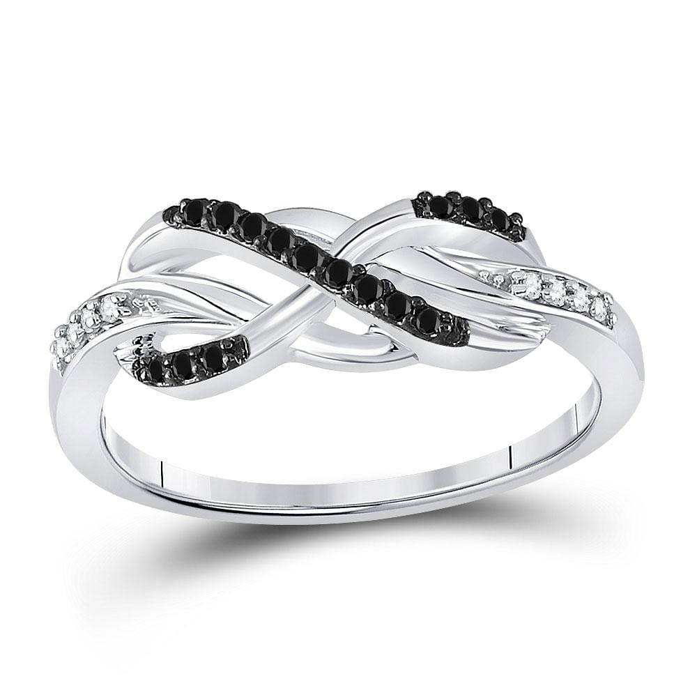 10kt White Gold Womens Round Black Color Enhanced Diamond Infinity Ring 1/10 Cttw