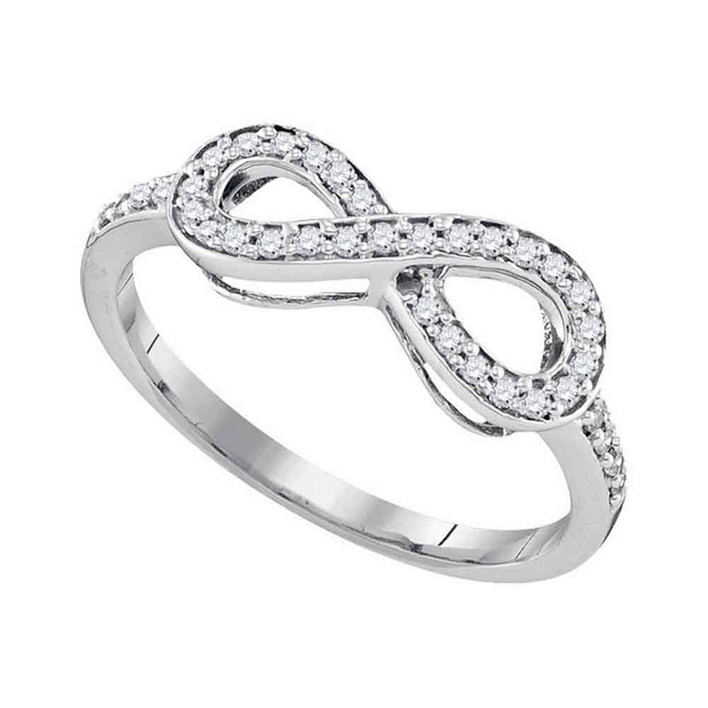 10kt White Gold Womens Round Pave-set Diamond Infinity Ring 1/5 Cttw