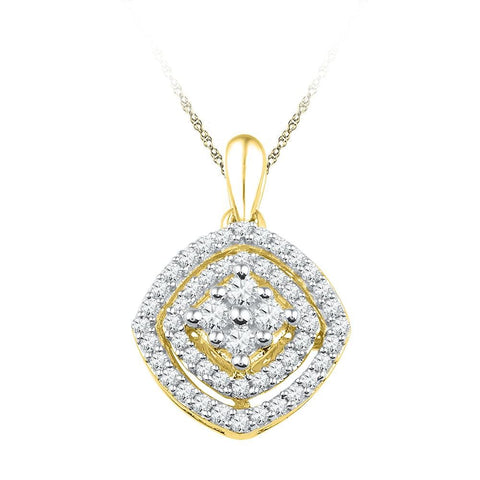 10kt Yellow Gold Womens Round Diamond Square Cluster Pendant 1/2 Cttw