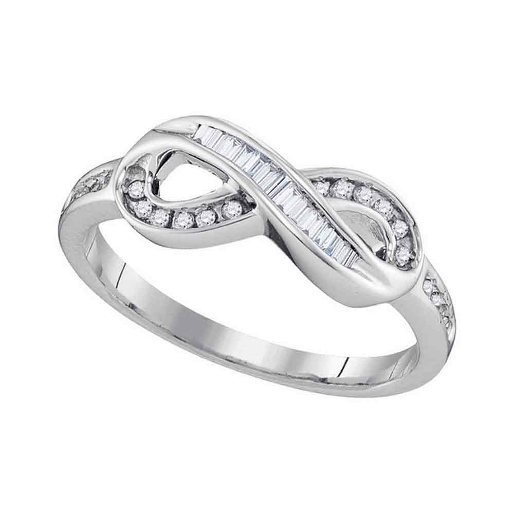 10kt White Gold Womens Round Baguette Diamond Infinity Ring 1/5 Cttw
