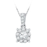 10kt White Gold Womens Round Diamond Solitaire Circle Frame Pendant 1/2 Cttw